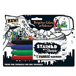 Sharpie Sharpie STAINED Permanent Fabric Markers, Brush Point, Assorted, Pack of 4 (1835558)