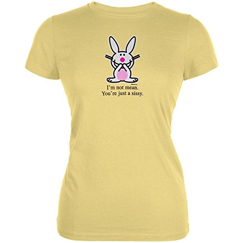 Happy Bunny - Womens Not Mean Sissy Juniors T-shirt Medium Yellow