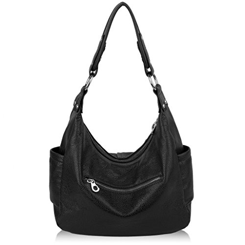 Yaluxe Ladies with Soft Women Bags Side Grey Hobo Black Pockets Cowhide Shoulder Leather 4rw4Zqn5
