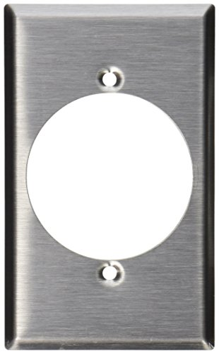 Leviton 003-84028 Receptacle Standard Size Wall Plate, 1 Gang, 4-1/2 in L X 2-3/4 in W 0.187 in T, Smooth, Stainless ()