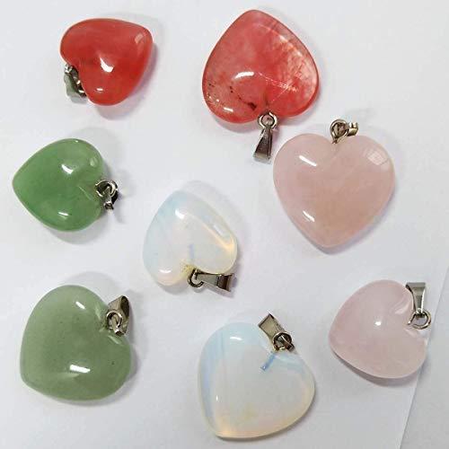 Gnognauq 24 Colgantes de Piedra Natural Forma de Coraz/ón Collar Chakra Dijes de Cristal 2 Tama/ños Diferentes Colores Surtidos para Bisuter/ía Regalo Joyas en el D/ía de Madre