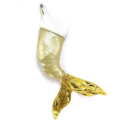Wendsim Christmas Stockings Sequins Mermaid Tail Hanging Socks