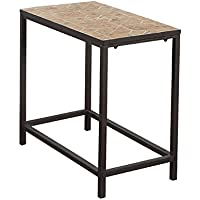 Monarch Specialties Terracotta Tile Top/Hammered Brown Accent Side Table