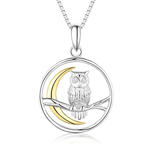 - Bellrela 925 Sterling Silver Owl on The Branch Cresent Moon Pendant Necklace,18+2''rolo Chain