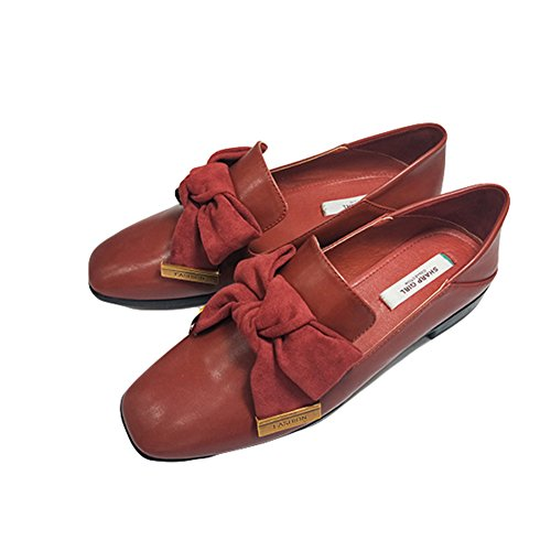 Btrada Womens Classique Bowknot Slip On Mocassins Penny Carrés Toe Mocassins Chaussures De Conduite Plat Casual Chaussures Rouge