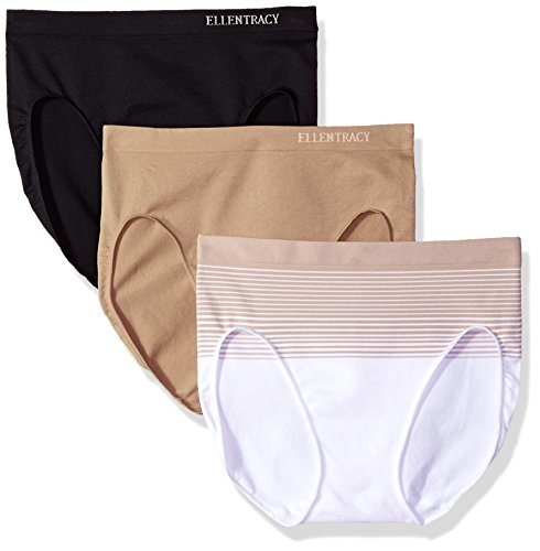 Ellen Tracy Women's 3 Pack Seamless Gradient Hi Cut Panty, White/Sun Beige, Black, Latte, Small