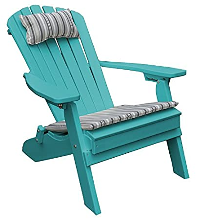 TEAL POLY FOLDING RECLINING ADIRONDACK CHAIR PORCH And PATIO SEATING,  Polywood Outdoor Furniture For Front