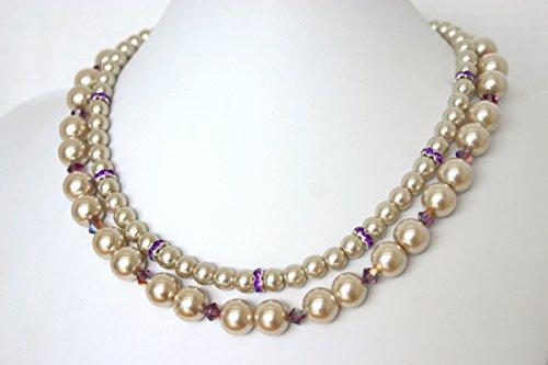 Champagne Pearl Bridal Jewelry - Bridesmaid Necklace - Champagne Bridesmaid Jewelry - Bridesmaid Jewelry - Pearl Bridal - Wedding - Champagne Bijoux