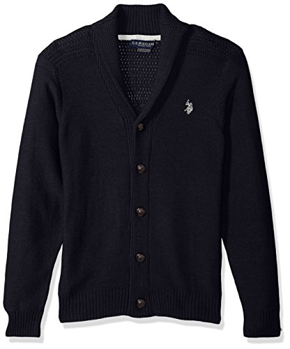 U.S. Polo Assn. Men's Reverse Jersey Shawl Collar Cardigan, Navy, X-Large by U.S. Polo Assn.