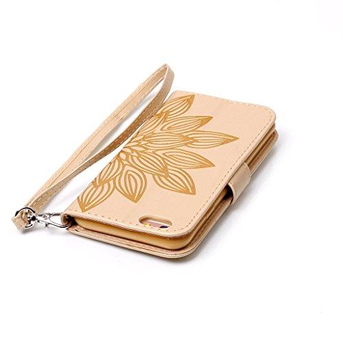 """Crisant Case Cover For Apple iPhone 6 Plus / 6S Plus 5.5"""" (5,5''),3D Demi-fleur conception portefeuille magnétique supporter PU cuir de flip protection housse coque étui pour Apple iPhone 6 Plus / 6S"""
