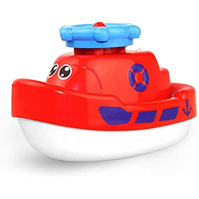 Seckton Pool Toys for Girls Water Toys Floating Bathtub Toys Spray Ship Christmas Birthday Gifts for Boys Boat Red: Toys & Games