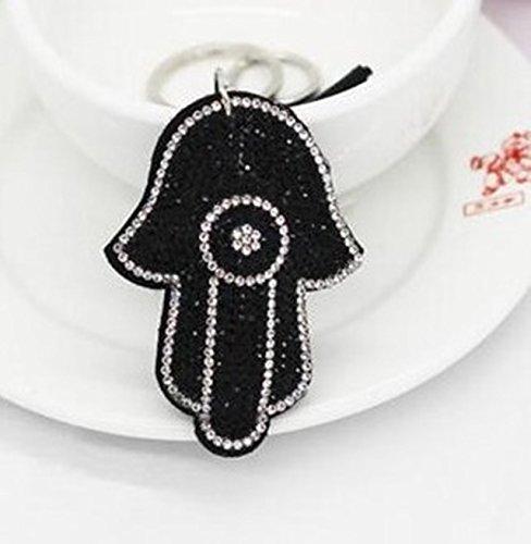 1 Pc Mini Pocket Hamsa Fatima Hand & Rhinestone Keychain Keyring Keyfob Antique Silver Palm Keys Chains Rings Tags Strap Wrist Peerless Popular Cute Wristlet Utility Keyrings Tool, Type-01