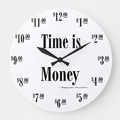 Amazon Com Pattebom Modern Stylish Time Is Money Clock Black Wood