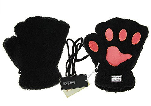 Women Girls Cute Bear Cat Claw Half Finger Warm Plush Fingerless Gloves Mittens