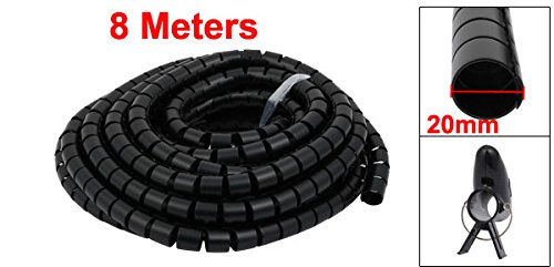 uxcell 20mm Dia Flexible Spiral Tube Cable Wire Wrap Black 8 Meters Long with Clip