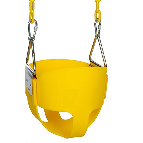 Lantusi Baby Swing Seat High Back Full Bucket Toddler Kids Swing Seat, Include Swing Set Accessories - 2 x 60 Coated Chains, 2 x Snap Hooks (Yellow)