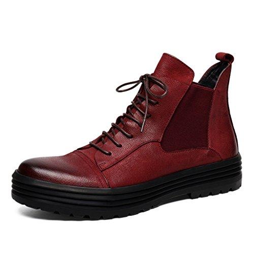 Eu De Martin Zapatos Piel Cuero Para Cortas Tamaño Tooling Altas uk7 Estilo Clásicos Rojo Invierno 41 Boots Hombres Británico Hombre Botas Color Hwvw5Bxq