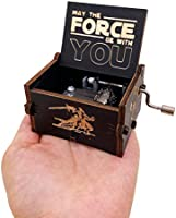 Youtang Mini Size Wooden Music Box Star Wars Hand Crank Musical Box Carved Wooden Music Boxes,Play Star Wars Theme Song,Black
