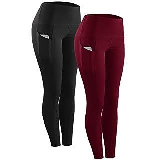 Neleus 3 Pack Tummy Control High Waist Running Workout Leggings,9017,Black,Grey,Red,US 2XL,EU 3XL