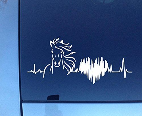 Horse Heartbeat Vinyl Decal Car Truck Window Glass (Default Color White) (8.5