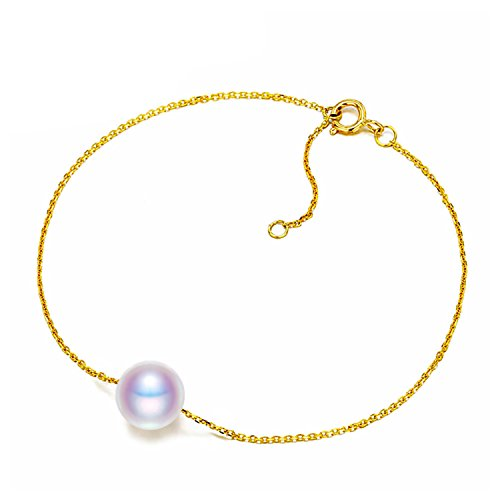 Bang-pa Luxury 7-7.5mm Round Freshwater Pearl Bracelet 18k Yellow Gold Chain Bracelet White/Pink/Purple - Co & Tiffany Nz