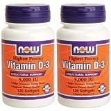 【バリュー2本セット】[海外直送品] NOW Foods ビタミンD-3 5000IU 120粒NOW Vitamin D-3 5000IU 120sof...