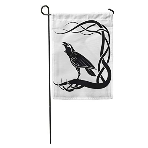 (Semtomn Garden Flag Celtic Pagan Raven Crow Mythology Animals Bird Black Knot Pattern Home Yard House Decor Barnner Outdoor Stand 28x40 Inches)