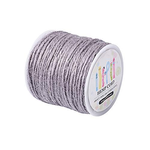 Pandahall 109 Yards Hemp Cord Rope 2mm Jewelry Crafts Macrame Beading Jute Twine String (LightGray)