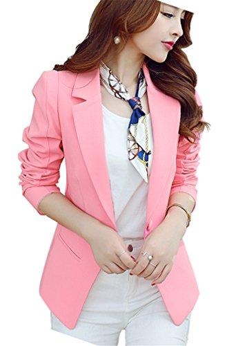 HaoMing Women Casual Solid Color Work Office Blazer Lightweight Jacket Pink M