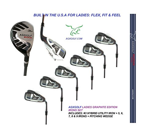 AGXGOLF LADIES MAGNUM GRAPHITE IRON SET #3 HYBRID + 5-9 IRONS + PITCHING WEDGE; PETITE, REGULAR & TALL LENGTHS: BUILT IN THE USA ! (Wedge Pitching Irons)