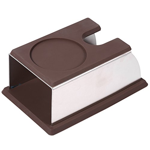 - Stainless Steel Coffee Tamper Stand Coffee Powder Maker Rack Silicone Tamping Mat Coffee Tampers Tool Accessory Brown
