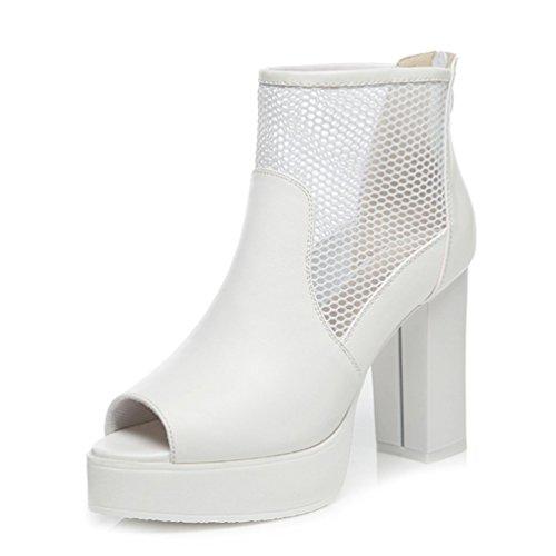 PerfectAZ On Sales Women Fashion New Breathable Peep Toe Mesh Zipper For Clousure Platform Chunky Heel Pumps
