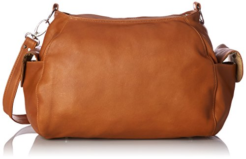 Piel Leather Top-Zip Shoulder Bag Cross Body Hobo, Honey, One Size