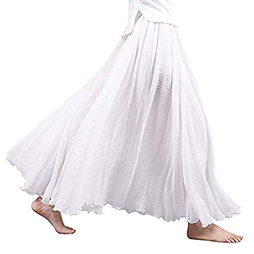 VEZAD Bohemian Style Elastic Waist Band Cotton Linen Long Maxi Skirt Women's Dress White