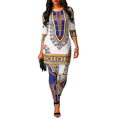 Women's Ethnic African Print Ethinc Floral Tunic Top Shirt Dress and Long Pants Set Tribal Suits 2 Pieces Outfit White ()
