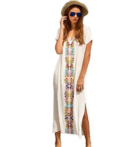 Akery Women's Chiffon Robe Beach Dress Swimsuit Bikini Cover Up,C-white,One Size Wear Caftan
