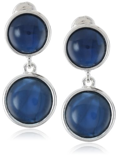 Napier Silver-Tone Blue Double Clip-On Earrings