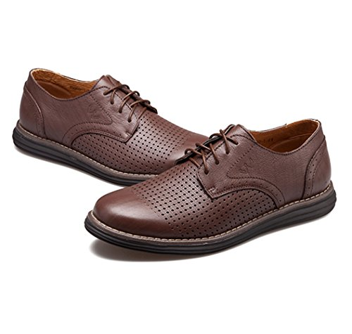 Men's Leather Casual Walking Shoes - Perfect for Outdoor Activities and Semiformal Occassions 539-38DBr by HUMGFENG (Image #4)