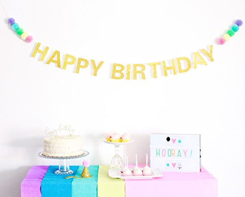 POSHAHOOLIE™ Happy Birthday Banner - Gold Glitter With Pastel Pom Poms - unicorn rainbow ice cream birthday party decorations happy birthday banner - Purple Sparkle Party Supplies