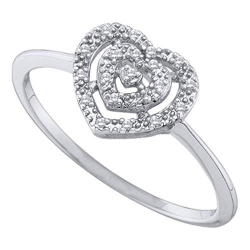 (Jewels By Lux 10kt White Gold Womens Round Diamond Slender Heart Cluster Ring 1/20 Cttw Ring Size 8)