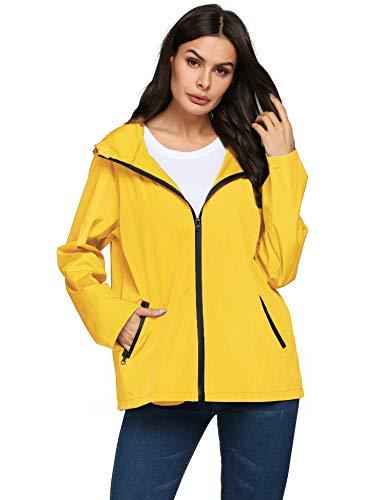 Rain Trench Coat Women Packable Outdoor Jogging Biking Rain Jackets(Yellow,XXL)