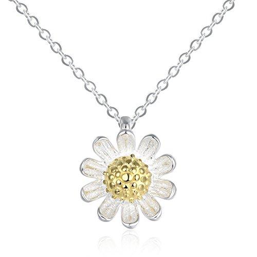 Ekavtor 925 Sterling Silver Daisy Flower Pendant 16'' Choker Necklace/Stud Earrings for Women (Sterling Silver Flower Link Necklace)
