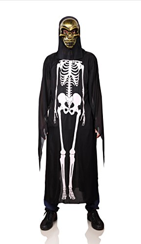 [ProEtrade Halloween Skelekon Bone Costume Scary Cosplay With Skull Mask For Adult (Gold Skull)] (Mens Mardi Gras Costumes Ideas)