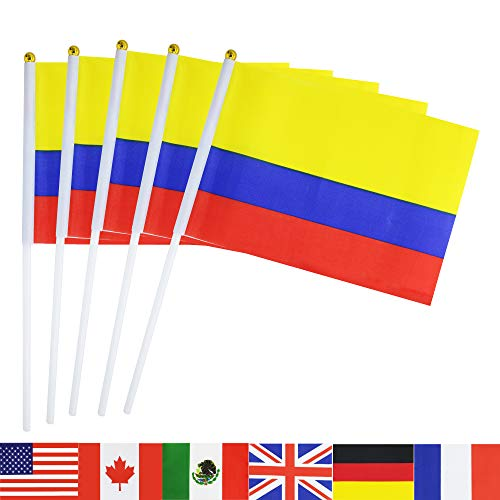TSMD Colombia Stick Flag, 50 Pack Hand Held Small Colombian National Flags On Stick,International World Country Stick Flags Banners,Party Decorations for World Cup,Sports Clubs,Festival Events -