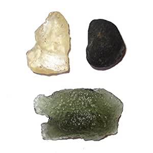 Meteorite Set Cluster 58 Chelyabinsk, Moldavite & Libyan Desert Glass Space Rock Stones Rare Set 17mm