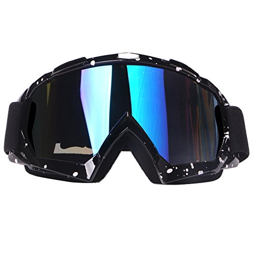 4-FQ Motorcycle Goggles Dirt Bike Goggles, Motocross Goggles, Windproof Dustproof Scratch Resistant Ski Goggles Protective Safety Glasses, PU Resin(Color Lens Marble Black Frame)