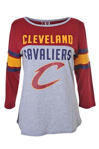 fan products of NBA Women's Cleveland Cavaliers T-Shirt Raglan Baseball 3/4 Long Sleeve Tee Shirt, Large, Maroon