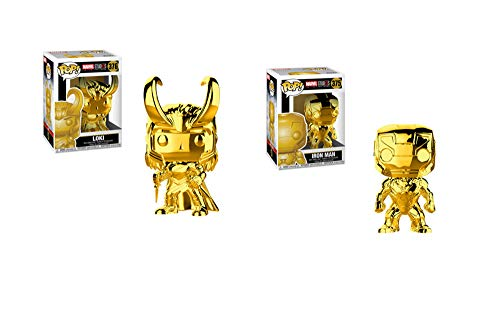 (Funko Pop! Bundle of 2: Marvel Studios 10 Gold Chrome Ironman and Loki)