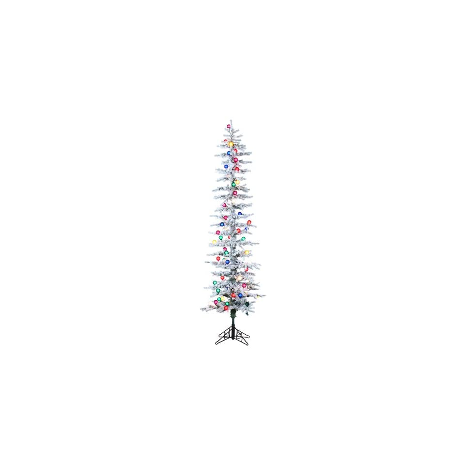 Allstate 30526573 Pre Lit Flocked Pencil Pine Artificial Christmas Tree with Multicolored G40 Lights, 7