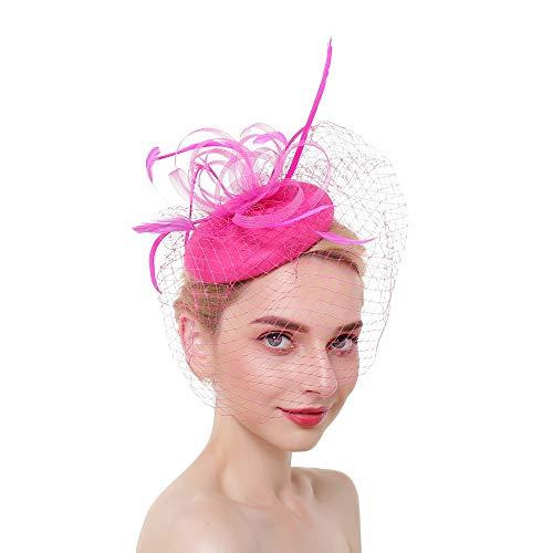 (SMSW Vintage Fascinators Hat Mini Beret Tea Party Hair Clip Women Kentucky Derby Headwear Wedding Cocktail Headband Rose Red )
